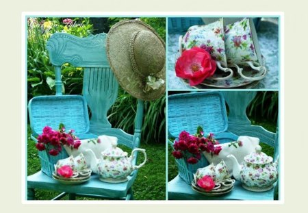 garden collage - flowers, garden, still life, hat, colors, table