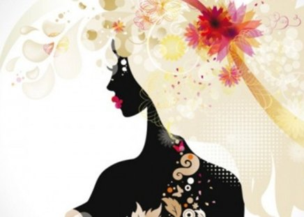 silhouette - girl, beautiful, silhouette, fashionable, vector