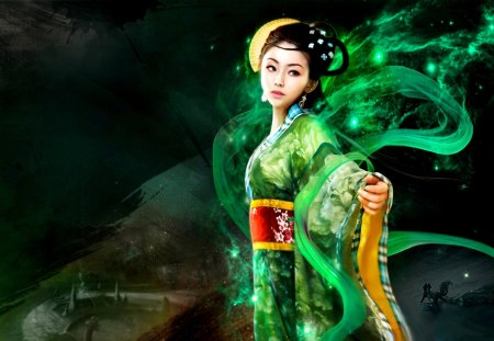 ORIENTAL PRINCESS - green, oriental, art, princess