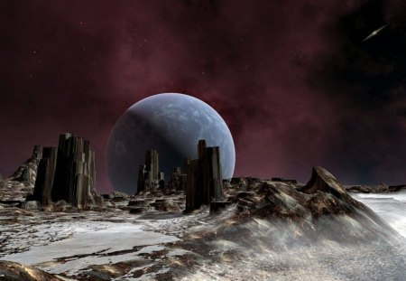 distant world - moon, rock formations, gas cloud, galaxy, stars, planet