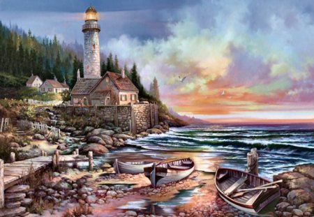 Lighthouse Beckoning F5 - lighthouse, painting, scenery, waves, seascape, art, sea, artwork, boats, surf, ocean, shore