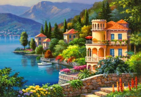 Village on lakeshore - flowers, lake, beautiful, cabins, blue, pretty, view, slopes, nice, lakeshore, mountain, cottages, summer, trees, colorful, shore, coast, painting, lovely, houses, town, village, sunny, nature, sea