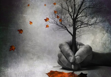 when the autumn is by iron doom design... - hand, pencil, painting, leaf, color, tree, autumn