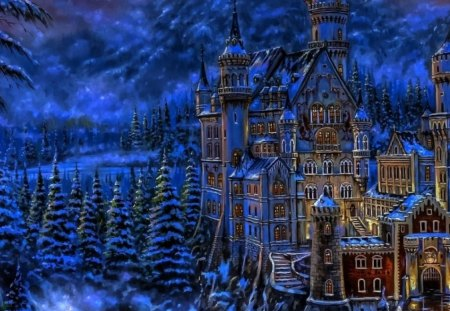 fantasy castle - lights, trees, snow, building