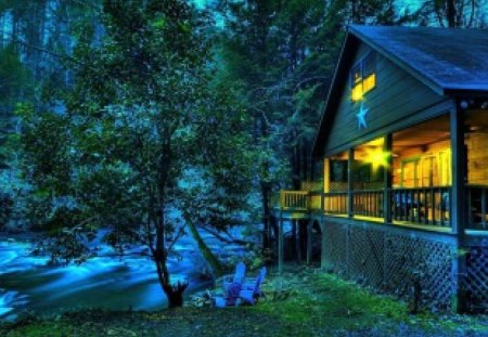 House on riverbank - summer, countryside, riverbank, beautiful, trees, river, twilight, lovely, light, nice, house, forest, nature, stream, dusk