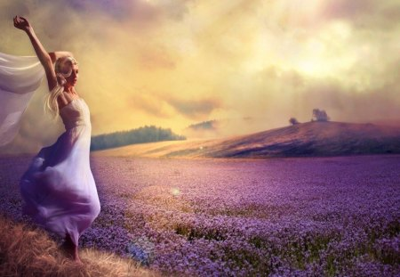 Purple dreams - sky, lavender, romantic, beautiful, dress, vail, purple, fantasy, meadow, woman, clouds, field, girl, dreams, lady