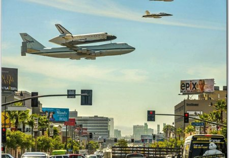 space shuttle in LA - space, los angeles, shuttle, air planes