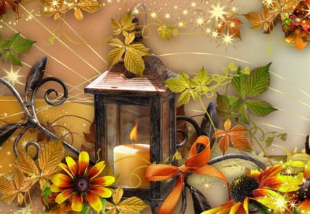 Autumn Light - flowers, glow, candle, season, ribbon, bright, fall, autumn, stars, yellow, leaves, light, vintage, gold, shine, lantern