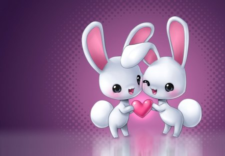 Cute Bunnies.  - love, heart, white, pink
