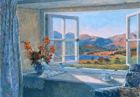 open window - flowers, window, september, view, vase, fells, autumn