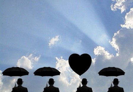 three umbrella and one heart - silhouettes, clouds, collage, sky, men, sun rays, hats