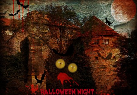 ♥     Halloween Night     ♥ - fear, halloween, moon, abstract, horror, bats, castle, collages