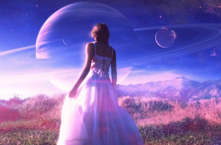 * My purple world * - amazing, field, sky, magic, girl, purple, clouds, grass, nature, planet, dreamer, dress