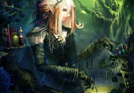 Magic Elf Girl - cool, profile, tree, blonde hair, sexy, magic, female, elf, jewelry, smile, earring, megic elf girl, hot, forest, pointy ears