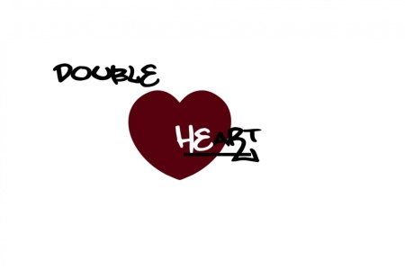 Double Heart - love plain, black, white, abstract, double, text, heart, read