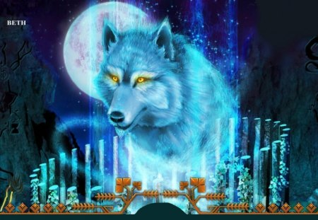 NIGHT OF THE THE BLUE WOLF - moon, sky, blue, mountains, animal, night, wolf, stars