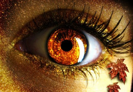 Autumn eye - make-up, beautiful, colorful, pretty, lovely, beauty, autumn, golden, leaves, light, nice, glamour, eye, shine