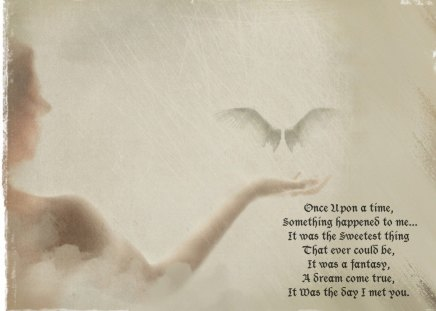 Once Upon a Time - wings, word, angel, dream, wprds, fantasy