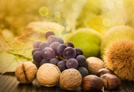 Natures Harvest - nuts, chestnuts, grapes, fall, autumn, fruit, gold, pear, filberts, green, walnuts, harvest, apples, food, leaves, bokeh, acorns