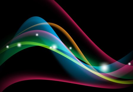 Bright and Shiny II - green, glow, orange, lines, pink, curves, abstract, waves, colors, blue, spectrum, bright, stars, shine