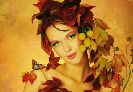 Autumn girl - beautiful, orange, face, pretty, fall, autumn, falling, girl, nice, mood, lady, woman, smile, fairy, fruits, lovely, red hair, golden, leaves, nature