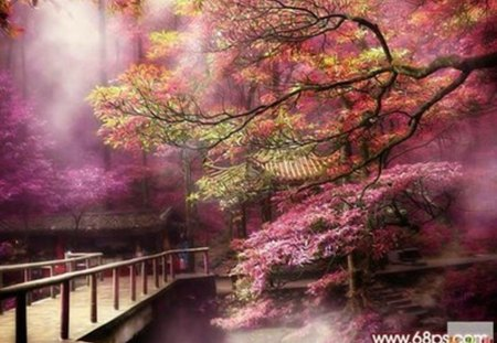 fantasy landscape - painting, purple, trees, bridge