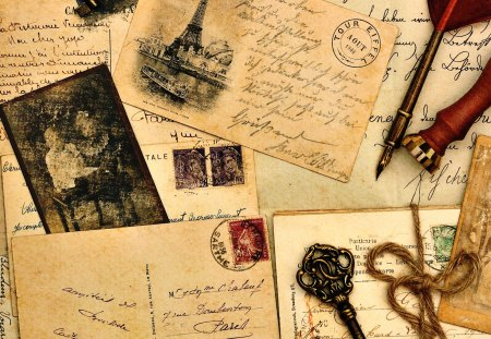 Memories - key, photography, letter, postcard, romantic, letters, pen, beauty, beautiful, eiffel tower, lovely, vintage, romance, pretty, vintage postcard
