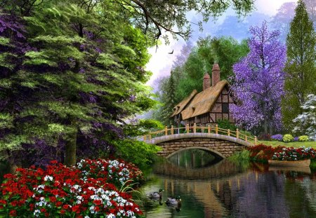 Lonely forest cottage - flowers, lake, beautiful, mirrored, river, reflection, pretty, cottage, clear, lonely, nice, lakeshore, house, calm, forest, creek, green, summer, countryside, riverbank, trees, colorful, shore, painting, lovely, serenity, fresh, bridge, cabin, peaceful, stream