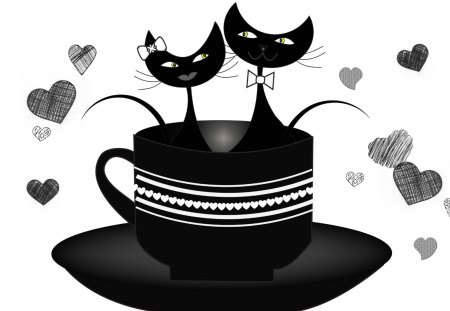 Cuppa Cats - feline, cup, coffee, tea, cats, cute, black and white, romantic, hearts, love, valentines day, sweet, kitty