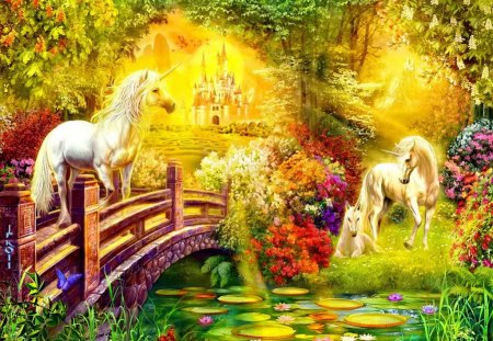 Fantasy world - magic, pond, sunny, nice, lilies, forest, horses, trees, light, lovely, rays, grass, sun, fantasy, dreams, bridge, unicorns, lake, beautiful, flowers, shine, world