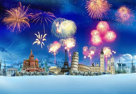 Around The World - winter, travel, snow, colorful, big ben, eiffel tower, collage, cathedral, fireworks, world