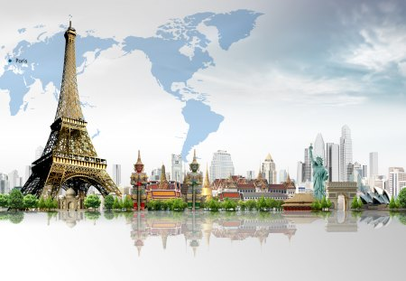 Around The World - travelling, paris, collage, eiffel tower