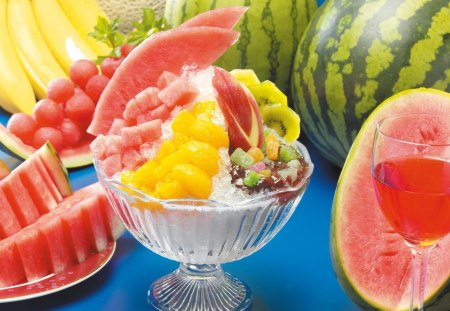 Ice cold fruits - berry, watermelon, ice, food, cold, fruits, glass, sweet, desserts