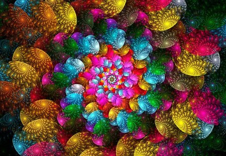 Colorful Spirals - abstraction, spiral, rainbow, colorful
