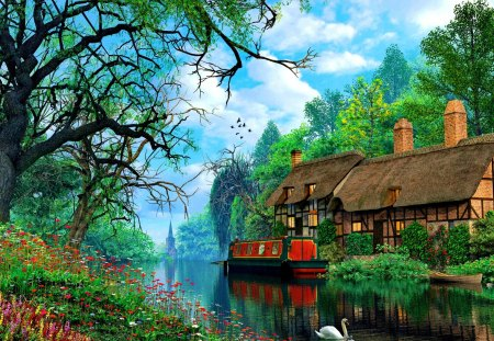 Countryside serenity - flowers, beautiful, river, reflection, pretty, cottage, nice, house, tranquility, swan, summer, riverbank, trees, sky, shore, lovely, serenity, clouds, cabin, nature, dusk