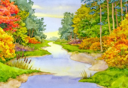 Painting - river, painting, nature, art, tree