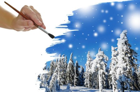 Winter - beautiful, hand, brush, pretty, tree, beauty, landscape, snowflakes, snow, snowy, winter time, trees, sky, paiting, lovely, photography, clouds, drawing, nature, winter, sweet