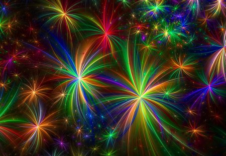 Fireworks - fireworks, graphics, rainbow, colorful
