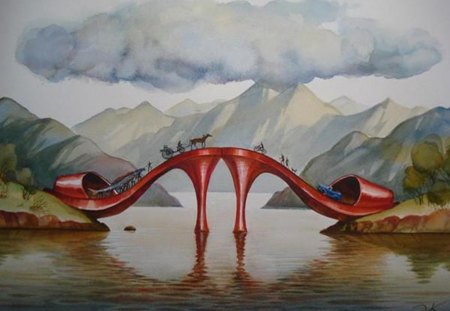fashionable bridge - shoes, bridge, painting, nature, fantasy
