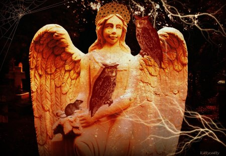 ♥     Golden Angel     ♥ - owl, spooky, light, halloween, angel, rat, golden angel, night