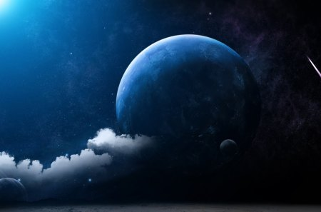 MOON FANTASY - fantasy, space, moon, clouds, blue, stars, sky, planet
