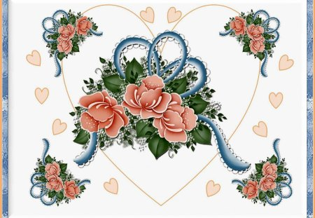 HEARTS & ROSES. - roses, blue, hearts, framed, peach
