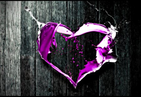 PURPLE HEART - coloring, selective, art, heart, digital, abstract-love-purple