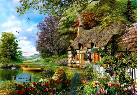 Summer in countryside - flowers, lake, beautiful, river, reflection, cottage, water, nice, greenery, summer, countryside, trees, colorful, sky, painting, lovely, serenity, calmness, clouds, village, cabin, peaceful