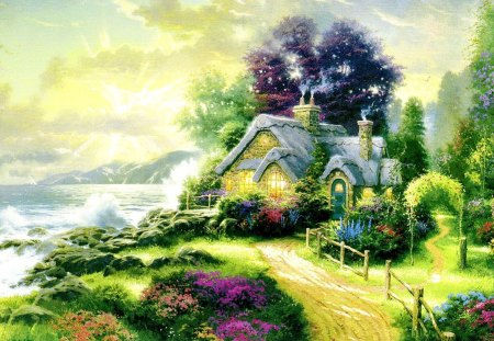 Small house on seashore - flowers, garden, beautiful, pretty, cottage, seashore, nice, sunset, house, grass, mountain, waver, sun glow, greenery, sunrise, rays, trees, shore, waves, painting, lovely, sailboat, sunlight, sundown, sunshine, cabin, nature, sea, ocean
