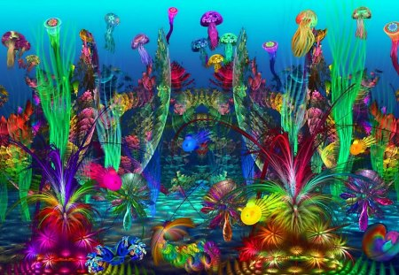 The Happy Reef - jelly, graphics, happy, underwater, coral, reef