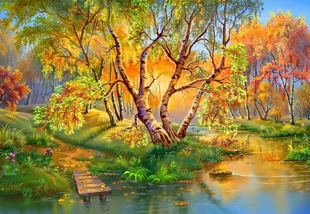 Autumn Landscape - landscape, river, painting, tree, forest, autumn