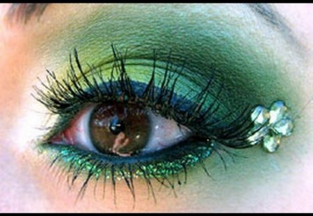 GREEN EYE - green, make up, eye, lady