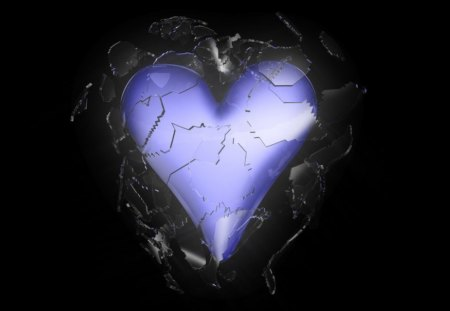 Shattered Heart - smashed, gothic, purple heart, broken hearted