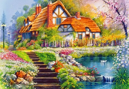 Peaceful place - fishing, flowers, spring, beautiful, river, delight, cottage, blossoms, stairs, nice, house, calm, creek, summer, quiet, blooming, painting, lovely, slope, serenity, calmness, village, cabin, peaceful, reflections